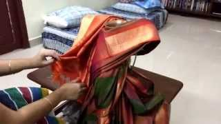 How to tie saree to varalakshmi goddess