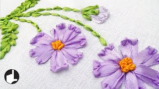 How To Make Ribbon Embroidery Design by Hand |  HandiWorks #36