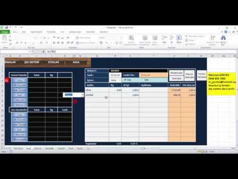 watch Excel Ders Cari Hesap Stok Kasa ve Çek Takibi