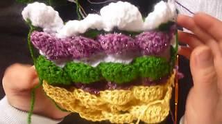 كروشيه غرزة الفقاعات المتعاكسه ثلاثية الابعاد  3D bubbles and reversible crochet