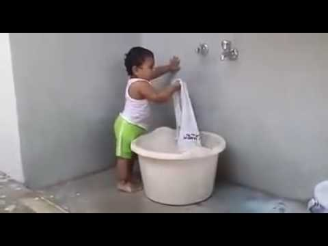 MP4 240p New Baby Funny Videos 2016 Indian Baby Washing Clothes Whatsapp Video Latest