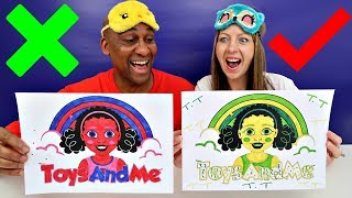 3 MARKER CHALLENGE | Mommy VS Daddy | Toys AndMe