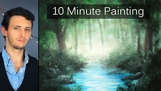 Painting a Misty Forest Landscape with Acrylics in 10 Minutes!