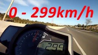 KTM 1290 Super Duke R - Acceleration 0-299km/h & Startup & Exhaust Sound & Burnout & Wheelie & Speed