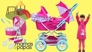 Mamas & Papas Baby Dolls Pram Baby Annabell Little girl go for a walk play in the park