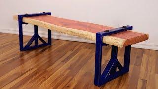 DIY Live Edge Slab Bench w/ Steel Legs | Easy Welding Project