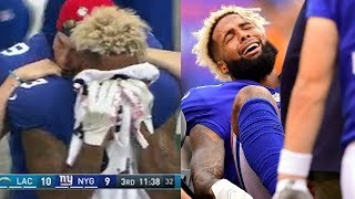 WATCH: Odell Beckham Jr Cries Into Towel, Fractures His Ankle in Game Against Chargers