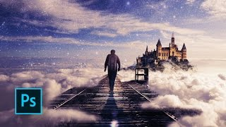 How to Make a Fantasy Photo Manipulation - Walking in the Clouds - Photoshop manipulation tutorials