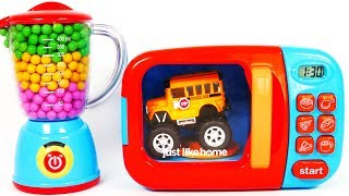 Microwave Toy Vehicles Monster Truck Front Loader and Bus Learn Colors for Children