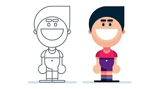 How to Draw a SIMPLE CARTOON PERSON Step by Step - Adobe Illustrator Tutorial