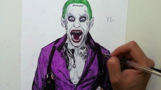 Drawing the joker with  ballpoint pen - jared leto | suicide squad