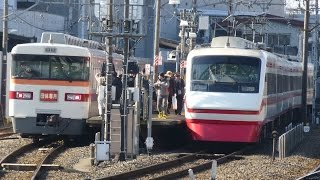 【東武&上電リレー号】東武 350系 353F 赤城駅到着、回送発車シーン 200系、8000系 上電700形との並びも