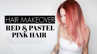 PINK / RED HAIR MAKEOVER with Matrix