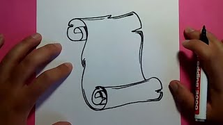 Como dibujar un pergamino paso a paso 3   How to draw a scroll 3