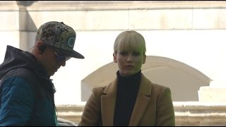 Jennifer Lawrence pulls silly face filming Red Sparrow movie in London