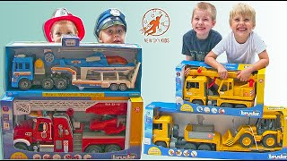 Toy Truck Videos for Children Compilation - Toy Bruder Fire Truck, Diggers, Garbage Trucks and More