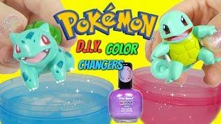 POKEMON GO BULBASAUR SQUIRTLE PIKACHU Color Changing NAIL POLISH DIY Toy Surprises