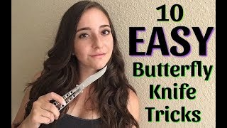 10 EASIEST Beginner Butterfly Knife Tricks to learn FIRST