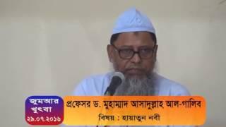 প্রফেসর ড. মুহাম্মাদ আসাদুল্লাহ আল-গালিব, বিষয় : হায়াতুন নবী