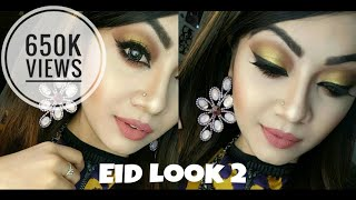 Glamorous Golden Eyes and Nude lips - EID Makeup tutorial
