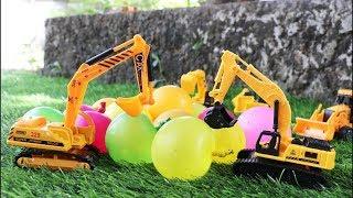 รถก่อสร้างเล่นลูกโป่งน้ำ รถพ่วง รถแม็คโคร รถของเล่นก่อสร้าง Dump truck water balloon