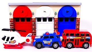 Garage Parking Playset Learn Colors with Helicopter Police Car and Bus Toys for Children