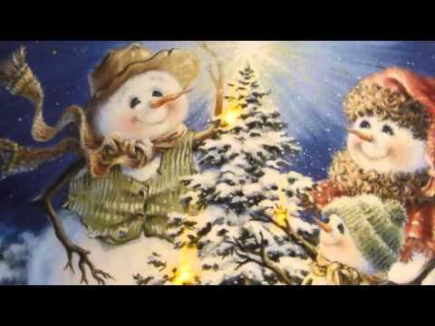 Xxx Mp4 UK Gardens Snowman Family Christmas Picture With LED Lights Canvas Print 30x40cm 3gp Sex