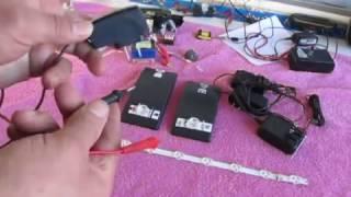 como probar led de tv. con un cargador de celular  video # 1 de 2