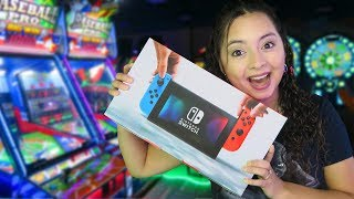 We won a Nintendo Switch at the arcade!