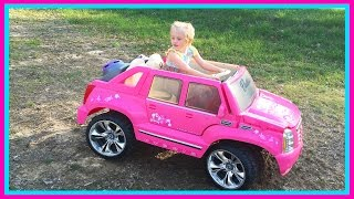 Barbie Power Wheels Ride On Car & Step 2 Roller Coaster Toys for Kids W/ Pink Supergirl Superhero