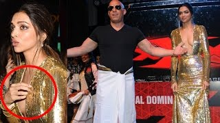 Deepika Padukone Spotted Adjusting  Her Bold Gown At 'XXX' Premiere