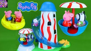 Peppa Pig Theme Park Toys Helter Skelter Slide Fair Ride Muddy Puddles Suzy Sheep Emily George Toys