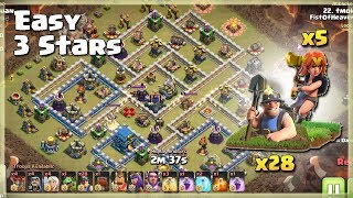 Easy 3 Stars ARMY= 28 MINER+5 VALK | TH12 War Strategy #80 | COC 2018 |