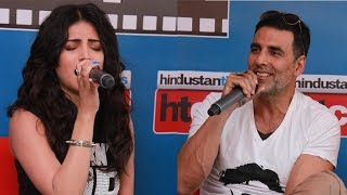 'Gabbar is Back' stars Akshay Kumar and Shruti Haasan showcase their singing talents
