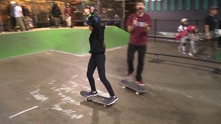 GIRL SKATEBOARDER DROPS IN FOR HER FIRST TIME!