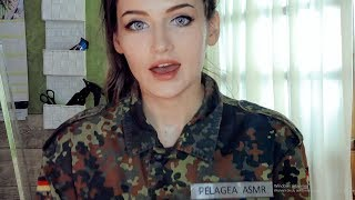 ASMR! A MILITARY GIRL gives you a MILITARY HAIRCUT! + MEASUREMENTS for your new UNIFORM!