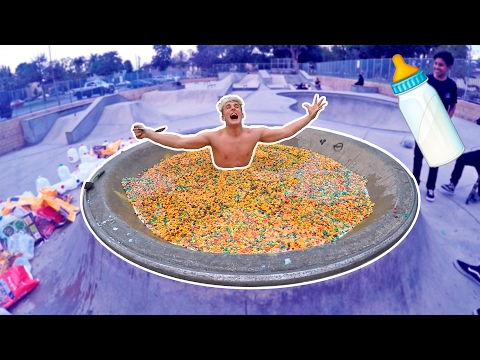 GIANT CEREAL BATH CHALLENGE IN PUBLIC