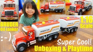 Children's TOY TRUCKS: New Bruder Truck! A MACK Oil Tanker Toy Truck Unboxing and Playtime