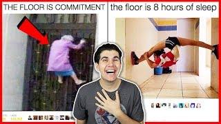 Reacting To The Funniest Floor Is Lava Challenge Tweets!