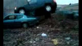 Geoff jumps Jeep onto the roof of a Mercury Cougar! Crash & Roll! (Non Fatal)