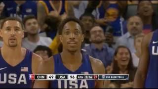 DeMar DeRozan attempts crazy 360 poster dunk vs China! (USA Basketball)