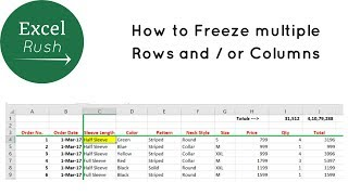 How to Freeze Multiple Rows and or Columns in Excel using Freeze Panes