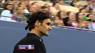 Roger Federer's trick shot in front of Michael Jordan at US Open 2014