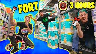 Last To Leave Walmart Fort WINS! (ft. MoreJSTU) - Challenge