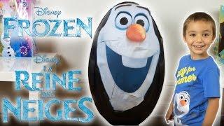 OEUF GEANT REINE DES NEIGES OLAF - Unboxing SUPER GIANT Surprise Egg FROZEN - Disney Frozen Videos