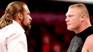 Triple H & Brock Lesnar sign the contract for SummerSlam: Raw, August 13, 2012