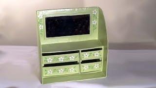 DIY  Penteadeira (papelão) espelho - makeup (cardboard) with mirror - Tocador (cartón) con espejo