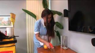 hot house maid undoing her shirt showing her breasts