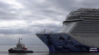 10 fach Zeitraffer Emsüberführung Norwegian Bliss passieren Emssperrwerk  wenden im Emder Hafen NCL