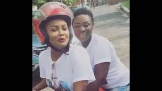 Nana Ama McBrown rides Okada, with Emelia Brobbey